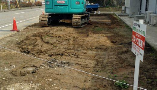 松任の新しいお店に水道が引かれ、現在地盤改良中。ようやく着工の運びです。