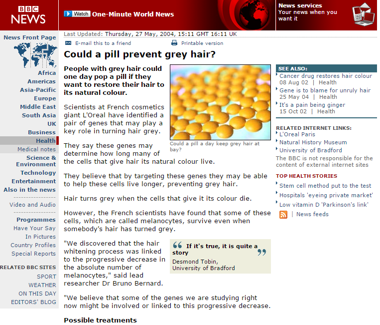 BBC NEWS   Health   Could a pill prevent grey hair