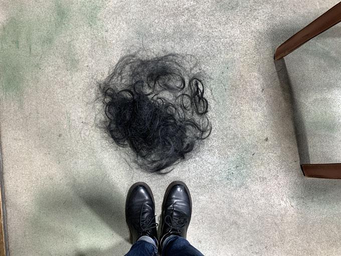 カットした髪